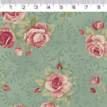 TECIDO FOUR SEASONS ROSAS ARABESCO FUNDO VERDE